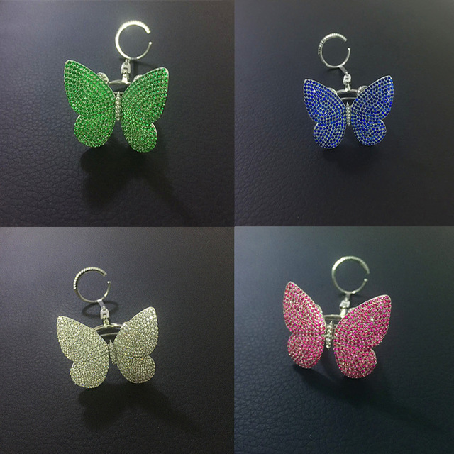 925 sterling silver inlaid zirconia  micro specific organs moving butterfly ring multicolor wholesale manufacturers