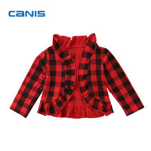 2018 Brand New Toddler Infant Child Girls Casual Jacket Top Checked Kids Long Sleeve Coat Outwear Plaid Cardigan Ruffled Clothes(China)