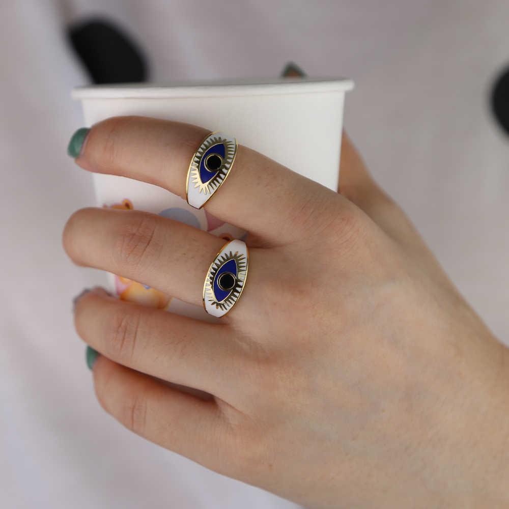 ทองสีเคลือบตุรกี evil eye finger แหวน BOHO โบฮีเมียแฟชั่นเครื่องประดับขนาด 5 6 7 8