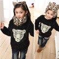 O envio gratuito de Outono/Inverno lã grossa camisola assentamento camisa Crianças além disso velvet longo-de cabelos compridos leopardo tigre roupas crianças