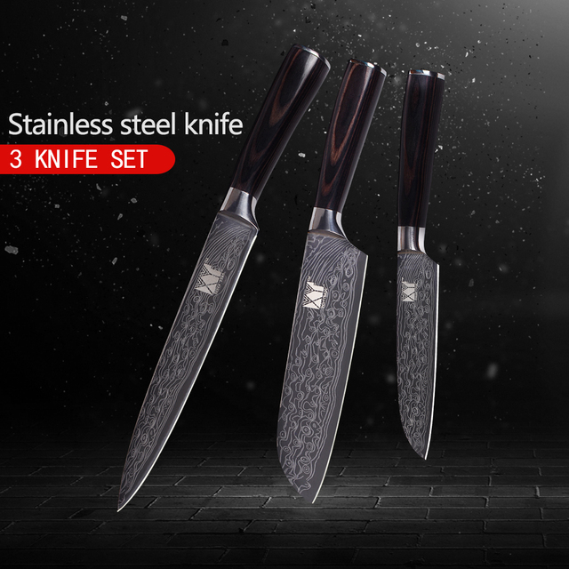 XYj 3pcs Kitchen Knives Set Anti-rust 7Cr17Mov Stainless Steel Knives Super Sharp Cooking Tools Fruit Vegetable Fish Meat knives