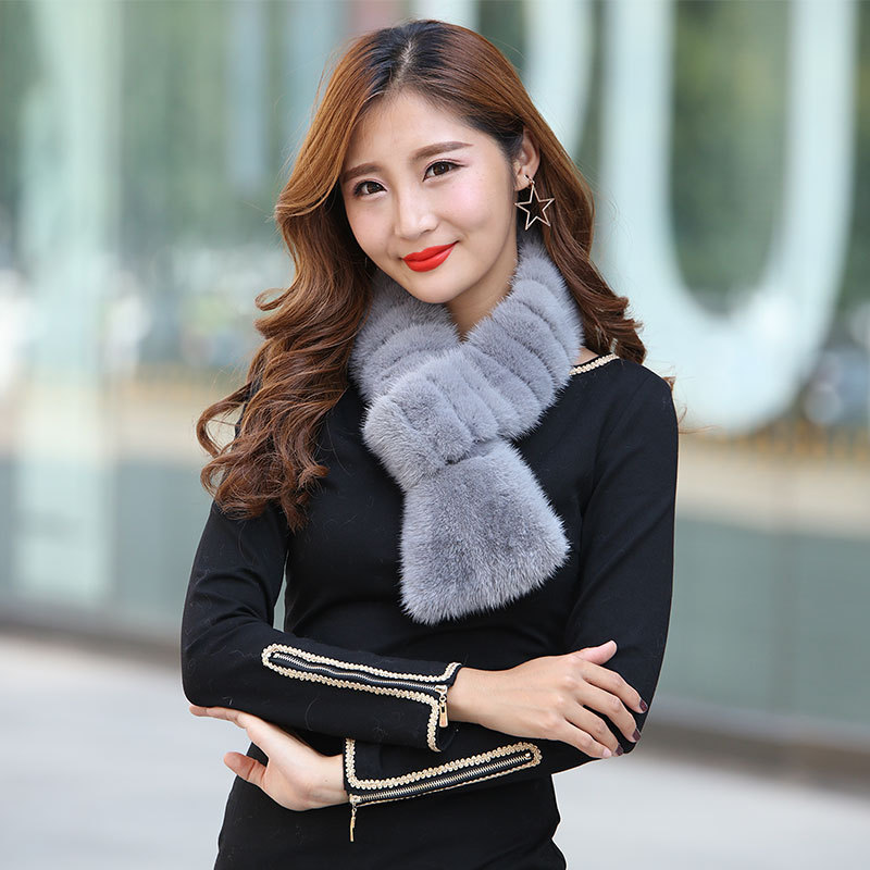 купить mink fur horizontal grain leather tail scarves for women scarf collar in winter to keep warm Cross-border sales model дешево