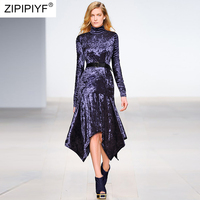 High End Caltwalk Fashion Stain Women Dress Turtleneck Long Sleeve Ankle Length Irregular Dress Femme Casual Vestidos H5838