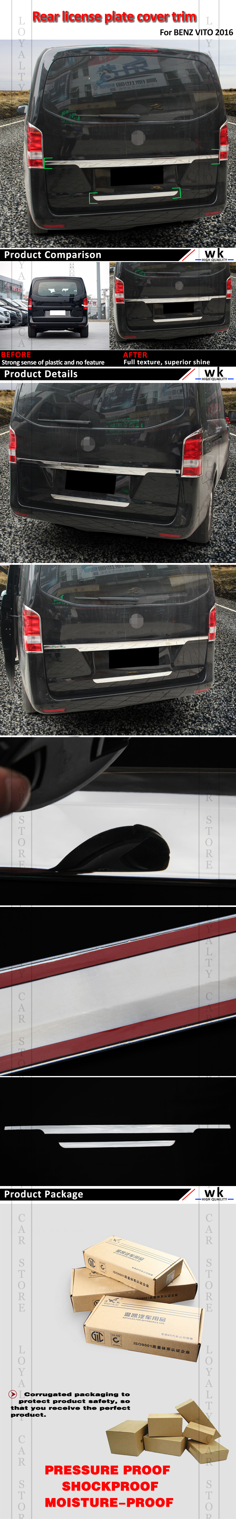 US $84 23 5% OFF Loyalty for Mercedes Benz V260 260L Vito 2016 2017 2018  ABS Rear License Plate Trunk Cover Trim Auto Styling-in Car Stickers from