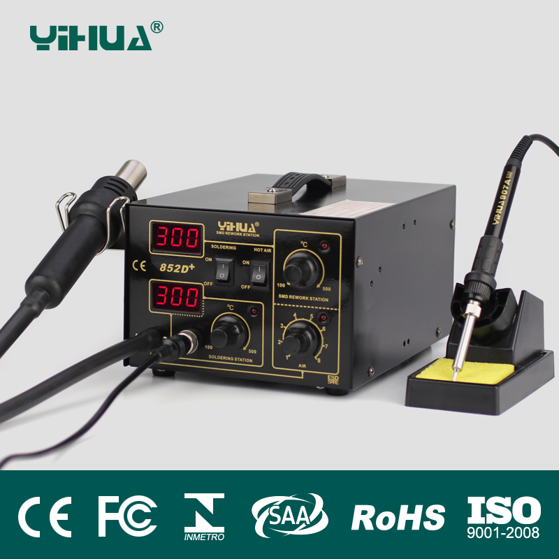 YIHUA 852D+0V 700W Pump Type Yihua 852D+ Hot Air Gun Digital Soldering Iron SMD Rework Station Better than Saike