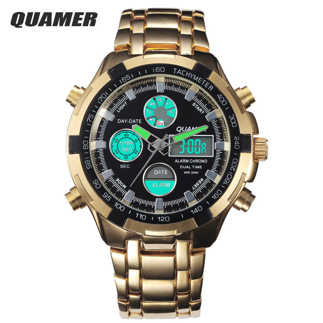 450497e40 Online Shop 2015 Fashion Digital Watches Men Led Full Steel Gold ...