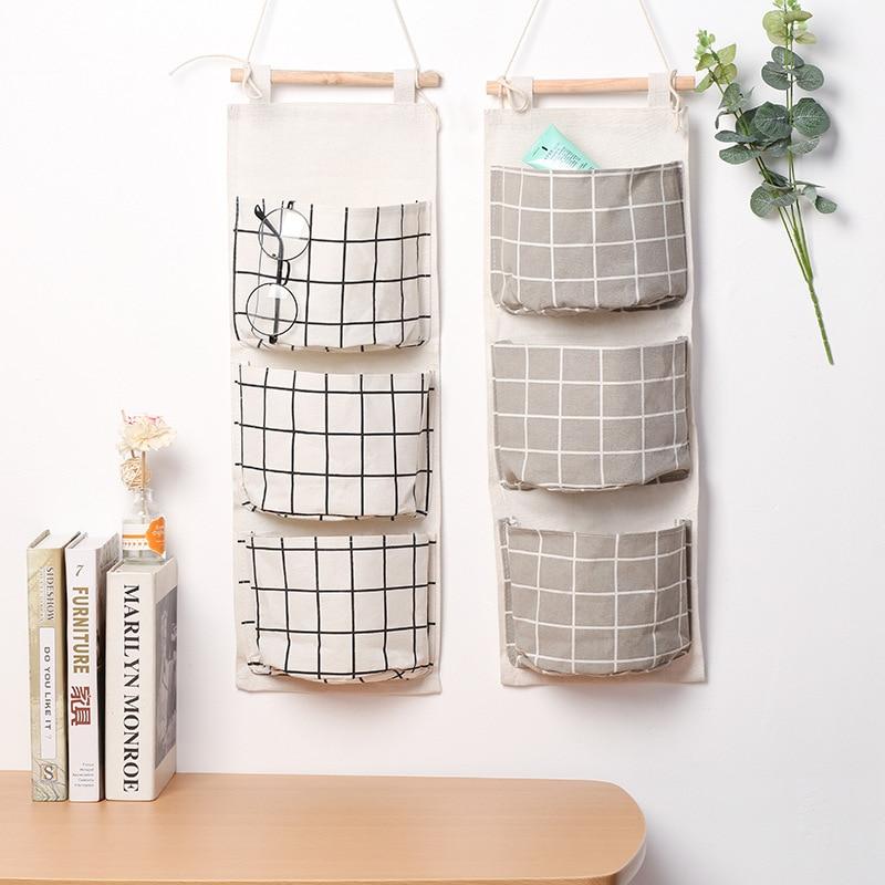 iTemer Flamingo Wall Door Storage Organizer Linen//Cotton Hanging Storage Bag with 3 Pockets Multi-Use Home Organizer Pink