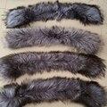 Invierno 100% Natural Real Fox cuello de piel y para mujer bufandas la capa de moda de cuello bufandas de lujo Silver Fox Fur casquillo del cuello L #