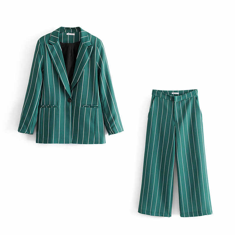 Vintage Chic Green Striped Pant Suits Fashion Pockets Single Button Notched Blazer Zipper Fly Straight Long Pants Casual Suits