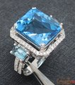9.98CT!! SOLID 14ct White Gold Natural Diamond & Blue Topaz Ring , Wholesaler Jewelry, 14k Gold Ring