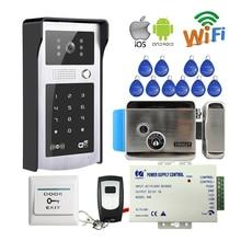 Envío Libre Wifi Inalámbrico Video de La Puerta de Intercomunicación Teléfono 720 P Metal Timbre Cámara RFID Código de Acceso Del Teclado para Teléfono Eléctrico bloqueo