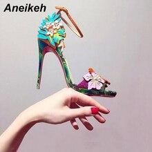 Aneikeh/босоножки на высоком каблуке г. Летняя пикантная женская обувь на тонком каблуке с открытым носком Модные женские туфли-лодочки из высококачественной PU искусственной кожи с цветком