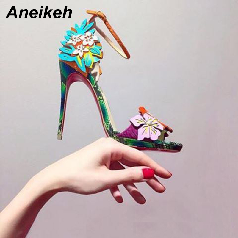 Aneikeh High Heel Sandal 2019 Summer <font><b>Sexy</b></font> Open Toe Thin Heels Women's Shoes High Quality PU Flower Color Fashion Ladies Pumps image