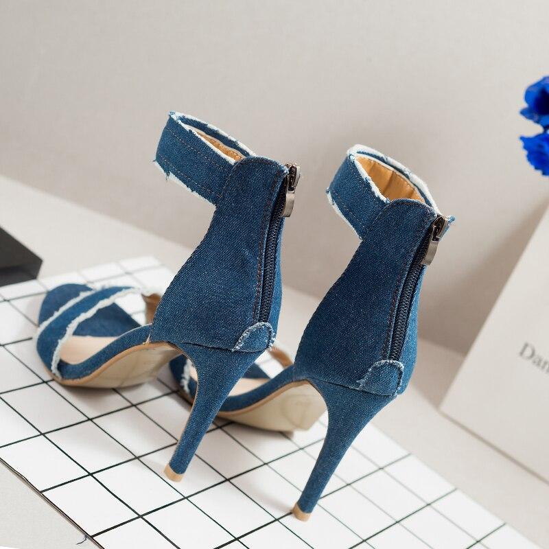 b00de0a4 Del light Mujeres 2017 Dark Zapatos Sandalias De Blue Alto Bombas Mujer  Azul Gladiador Stiletto Blue ...