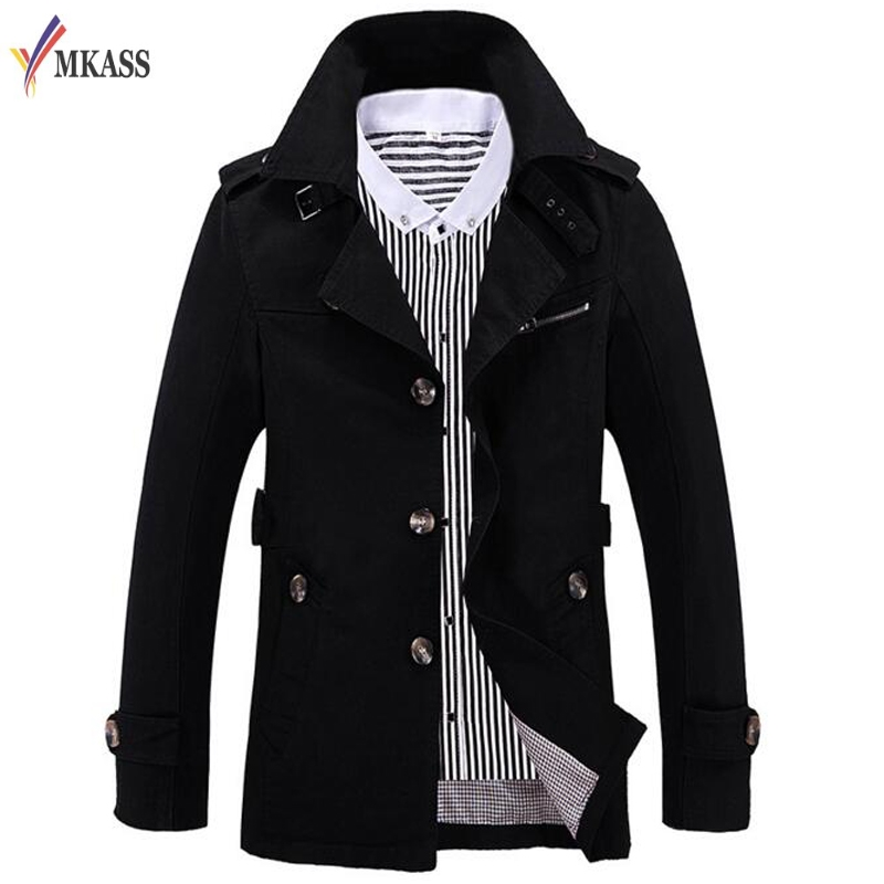 Korean Overcoat 5 Colors British Style Slim Fit Trench Coat Long Men New Autumn 2017 Man Windbreaker Plus Size 5XL