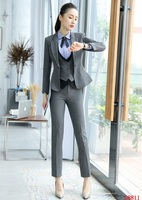 Fashion Formal Women Business Suits 3 Piece Vest, Pant and Jacket Sets Work Wear Ladies Grey Waistcoat OL Styles