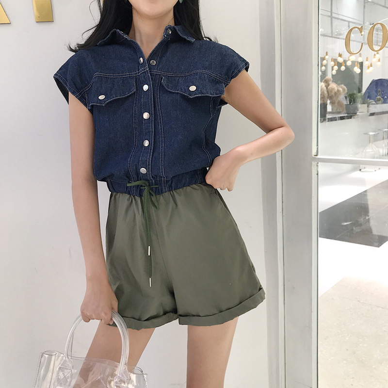 Rompers Womens Jumpsuit Casual Playsuits For Women Short Sleeve Jeans Stiching Shorts Loose Srteerwear Elegant Playsuit Overalls