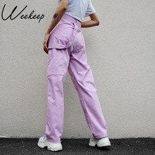 Weekeep pantalones holgados de cintura alta para mujer, Pantalones largos de algodón, ropa de calle elástica, pantalones Cargo, 2018