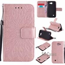 Embossed Flip Case For coque LG K4 fundas Lte K120e K130e K121 Cover 4.5 inch + Card Holders Back pone