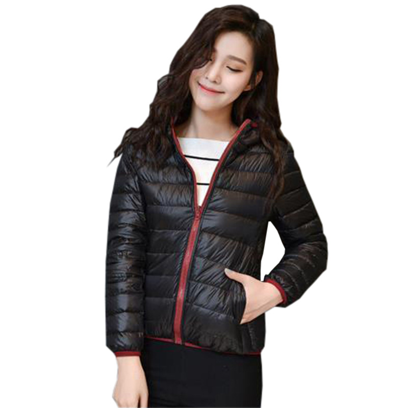 Double-sided Wear   Down     Coat   Light Thin White Duck   Down   Short Jacket Hooded Slim Autumn Winter Lady Parka Casual Jackets RE0137