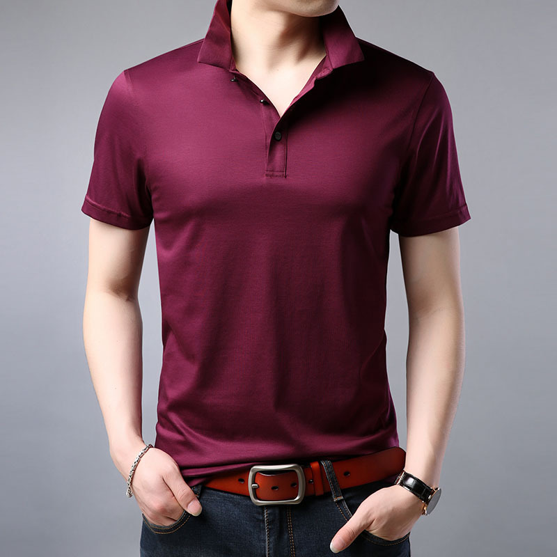 Silk Solid Casual   Polo   Shirt Men Short Sleeve Business   Polo   Shirts High Quality Fitness Slim Fit   Polo   Male 2019 Summer Fashion