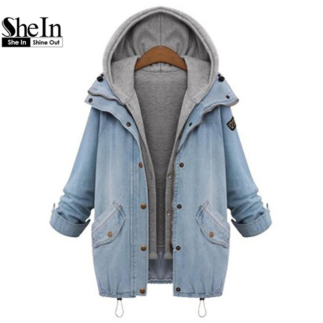 SheIn Blue Hooded Drawstring Boyfriend Trends Jean Swish Pockets Two Piece Outerwear Women Long Sleeve Buttons Coat
