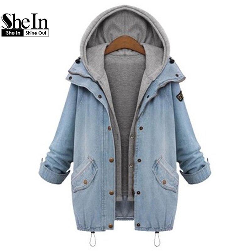 Shein azul con capucha con cordón novio tendencias jean swish bolsillos botones