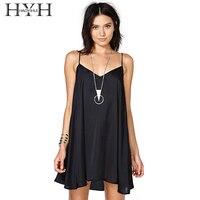 HYH HAOYIHUI Brand Women Black Sexy Mini Dresses Sleeveless Cold Shoulder V Neck Basic Loose Spaghetti