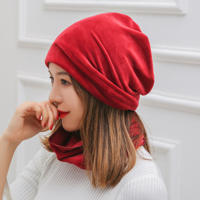 339d396422c Fashion Women Warm Velvet Hat Solid Slouch Beanie Ski Hat Casual Slouchy Cap  Scarves Wrap Set