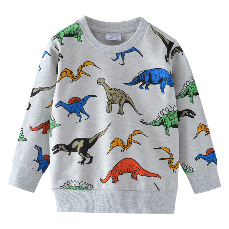 Boys T Shirts Autumn Long Sleeve Tops Kids Dinosaur Appliques Cotton Sweatshirt Children Boys Shirts Clothing Boys Clothes