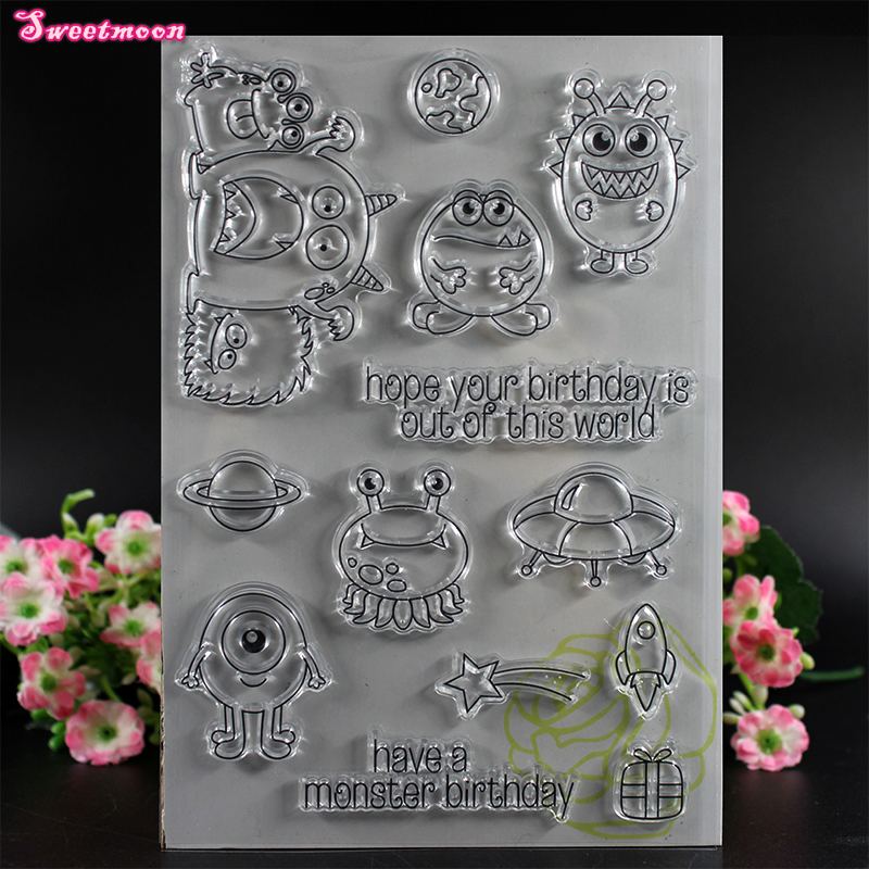 Aliens invited to birthday Scrapbook Clear Stamp photo cards account rubber stamp  Embossing Folder card Stamp thank you my friend you are the best scrapbook clear stamp photo cards account rubber stamp embossing folder card stamp