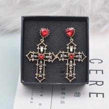 New Korean Hollow Metal Cross Charm Red Crystal Love Heart Dangle Earrings  for Women Luxury Fashion Statement Pendientes EC1244 f980de4c2f63