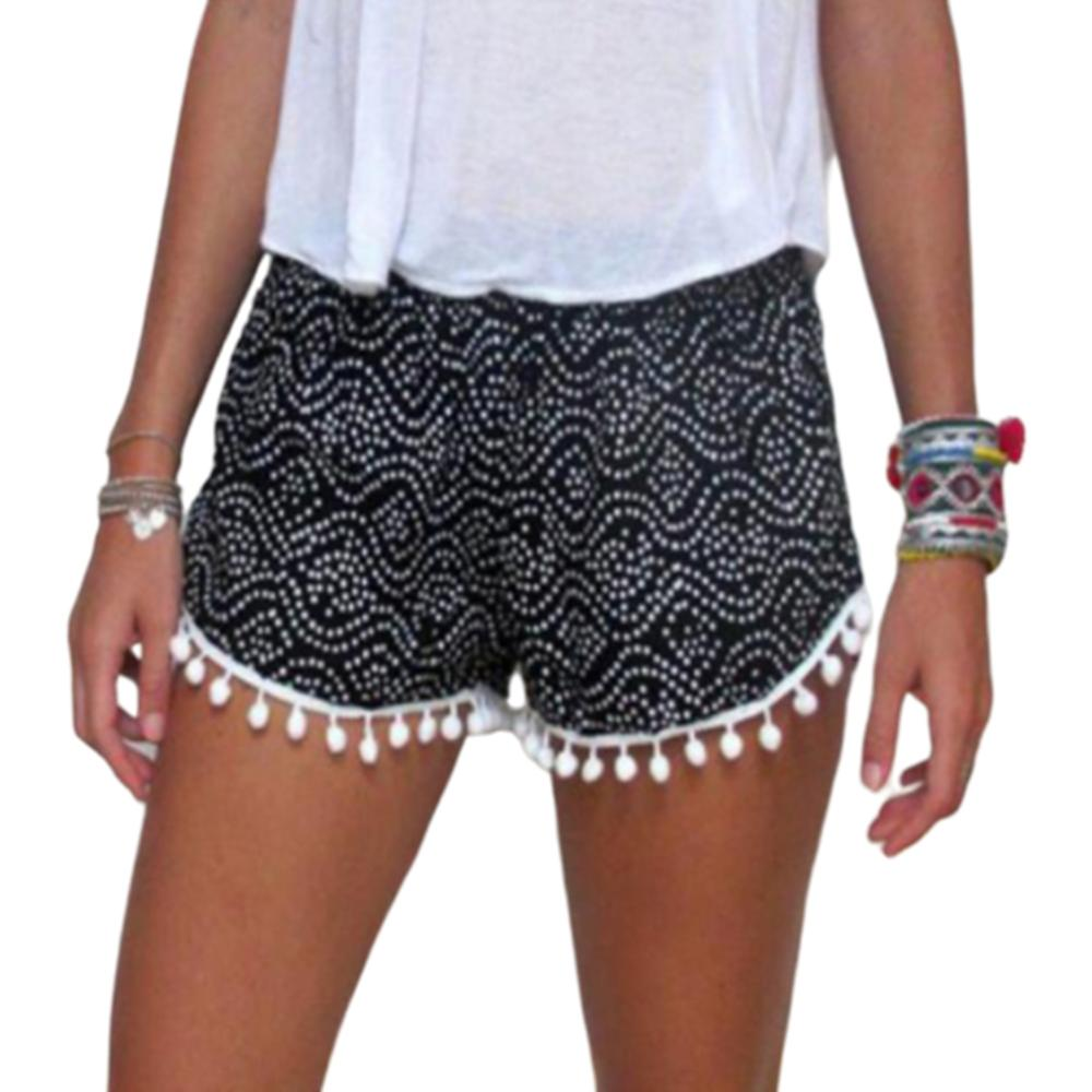 Womens Low Waist Summer Bohemian   Shorts   Polka Dot Graffiti Printed Pompom Ball Tassels Wide Leg Tribal Beach Mini   Short   Pants