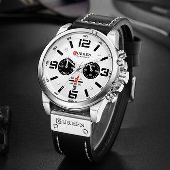 CURREN Men's Sport Military Genuine Leather Chronograph Calendar Date Waterproof Quartz Watches 4