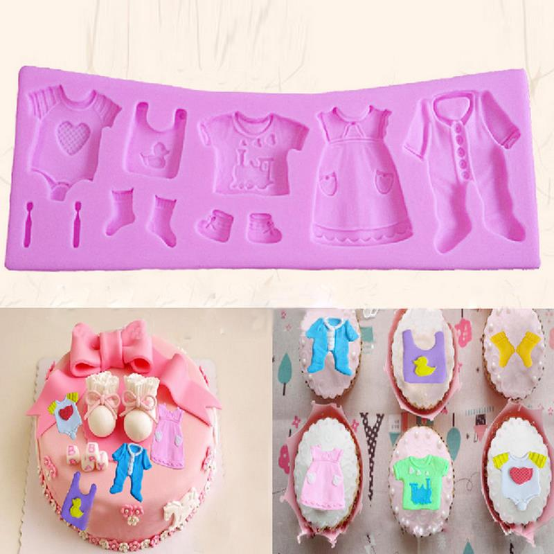 Baby Cloth Shape 3D DIY Silicone Fondant Mould Cutter Cake Tools Cookie Decoration Tool Cupcake Mold