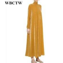 Velvet Dress Yellow Fashion Casual A-Line Runway Dress Women Solid Winter Long Warm 6XL 7XL Plus Size Women Clothing 2017