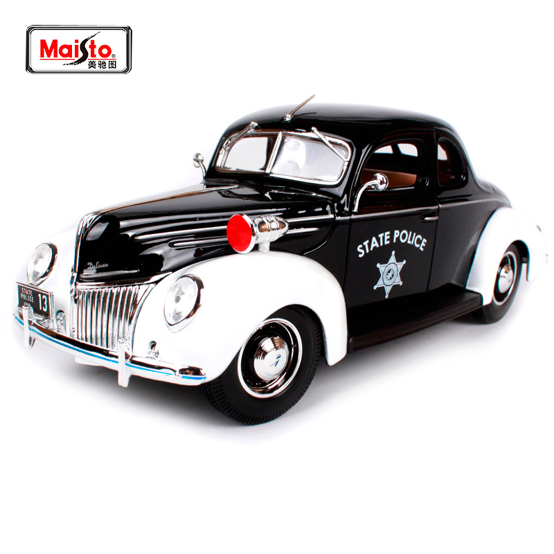 Maisto 1:18 1939 Ford Deluxe Police car Old Car model Diecast Model Car Toy New In Box Free Shipping 31366 hot sale ford mustang police 1 18 welly s281 original alloy car model toy matte black fast