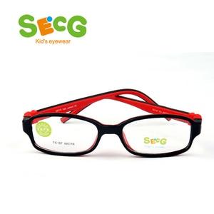 Image 1 - SECG TR90 Ультралегкая мягкая гибкая безопасная детская рамка Lunettes De Vue Enfan Рамка для близорукости для мальчиков и девочек унисекс резиновая лента