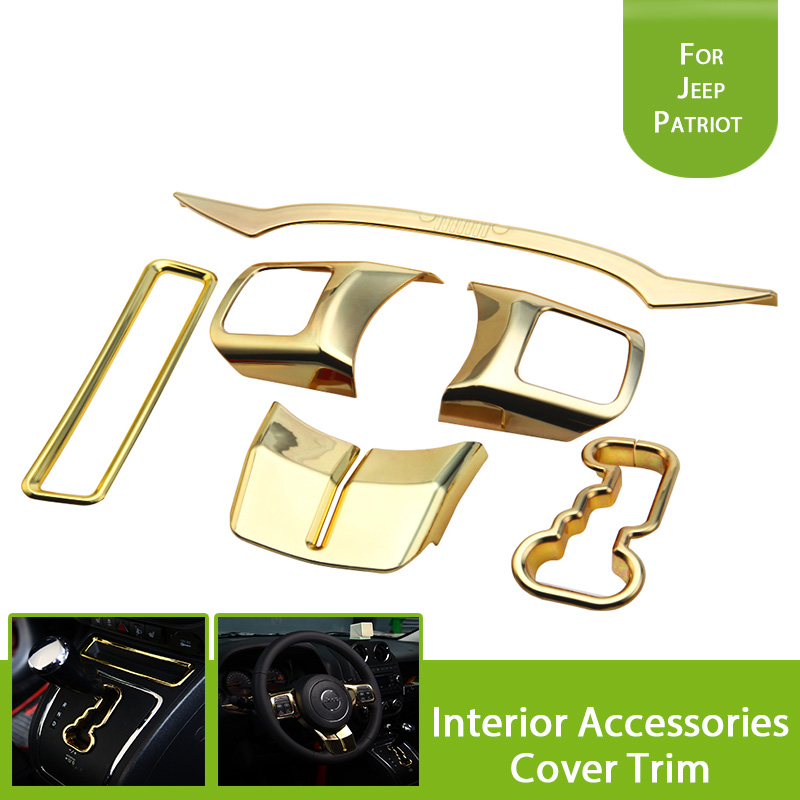 1Set ABS Gold Cab Interior Accessories Cover Trim For Jeep Patriot Compass 2011-2015