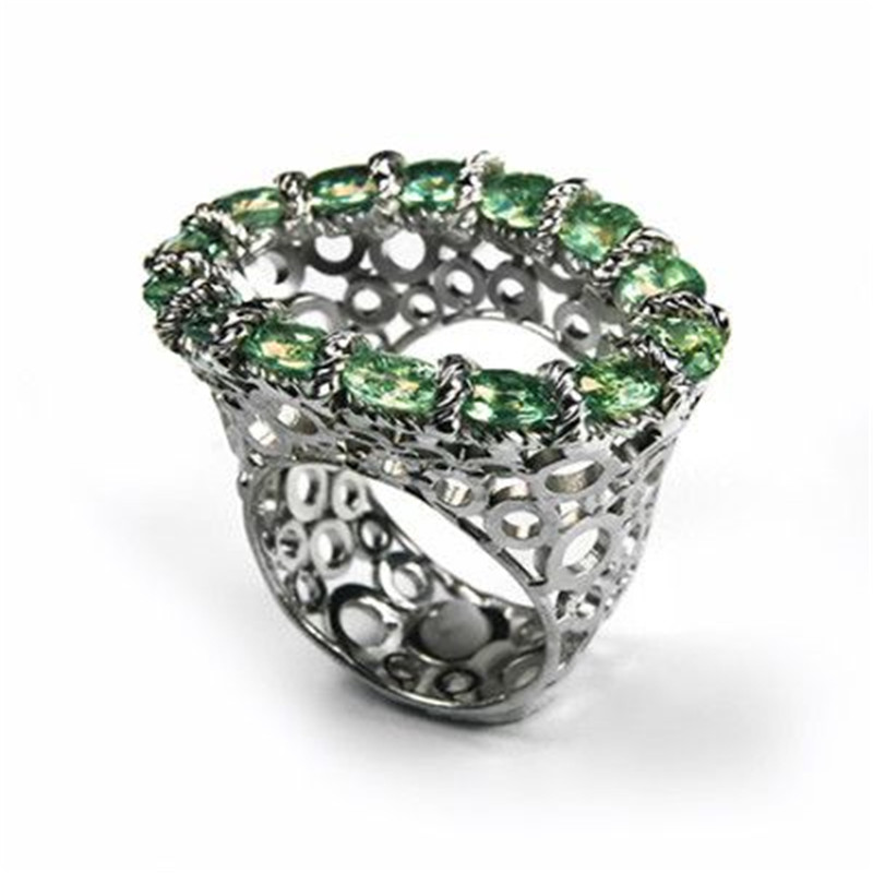 MDNEN New Vintage Empty Ring Sliver Color Metal Green Stone Ring For Women Wedding/Engagement/Birthay/Party Jewelry Ring