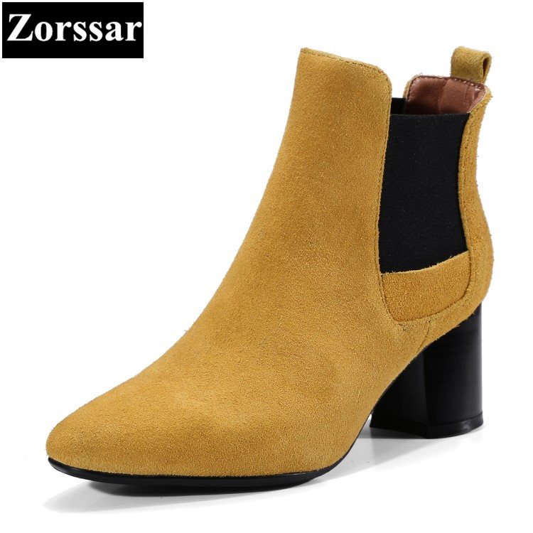 {Zorssar} 2018 Large size Women shoes pointed Toe Thick heel Elastic band ankle Riding boots High heels womens boots winter zorssar brands 2018 new arrival fashion women shoes thick heel zipper ankle chelsea boots square toe high heels womens boots