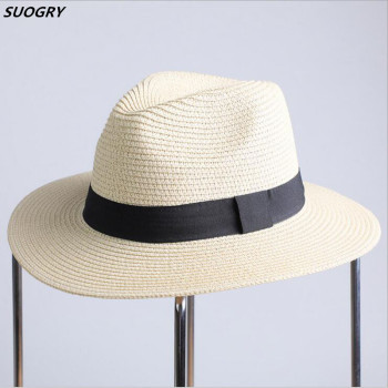 SUOGRY 2017 New Summer Hats For Women Black Ribbon Straw Hat Fashion Lady Church Caps Beach Sun