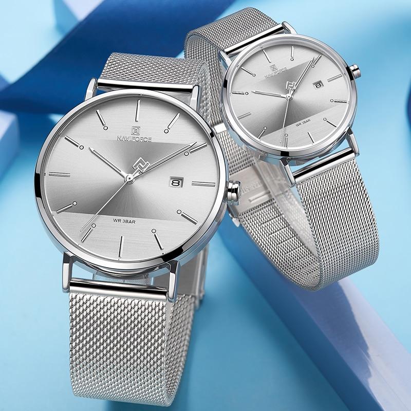 NAVIFORCE Lovers Watch Top Brand Simple Business Men Watches Stainless Steel Women Couple Quartz Wrist Watch Relogio Masculino