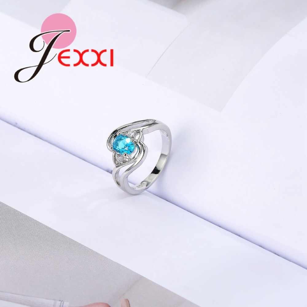 Sprzedaż hurtowa 925 srebro pierścionki dla kobiet biżuteria akcesoria moda niebieska cyrkonia sześcienna Anillos dla kobiet Bijoux