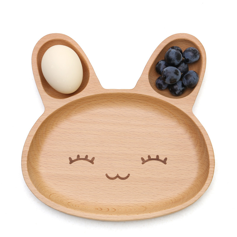 20*20*6.2cm Cute Rabbit Food Dish Wooden Appetizer Platter 3 Compartment Dinner Plate Tray DPW0931