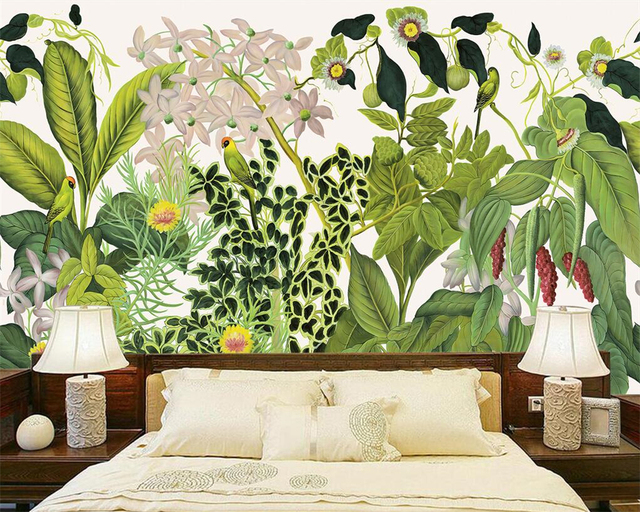 Beibehang Custom Wallpaper Home Decorative Mural European Style Retro Hand Painted Tropical Rainforest TV Background