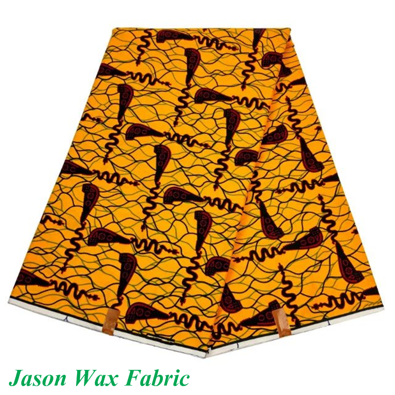Guaranteed Quality African cotton wax fabric polyester fashionable African wax prints fabric yellow cross LBL