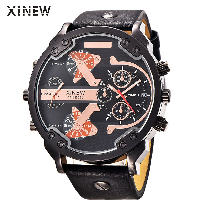 Excellent Quality XINEW Mens Watches Luxury Military Sport Luminous Wristwatch Leather Quartz Watch Relogio Masculino Jan