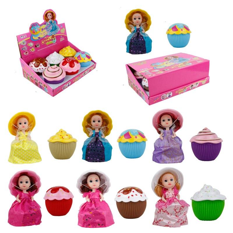 6 Kids Surprise Cupcake Doll Toy Magic Cartoon Scented Cupcake Dress Dolls Princess for Girls Pretend