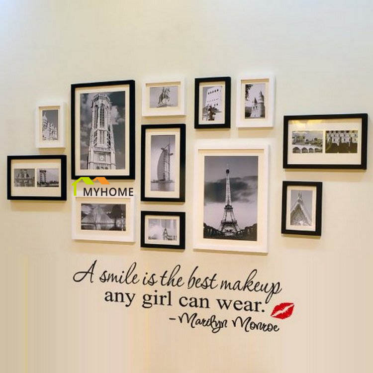 Marilyn Monroe Quote A Smile Is The Best Makeup Removable Wall Decals Vinyl Stickers For Bedroom